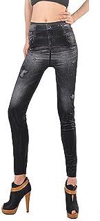 タイツ,SODIAL(R)女性のデニムジーンズ セクシーなスキニーレギンス デニムレギンス タイツ ストレッチパンツズボン-黒 パターンスタイル:星