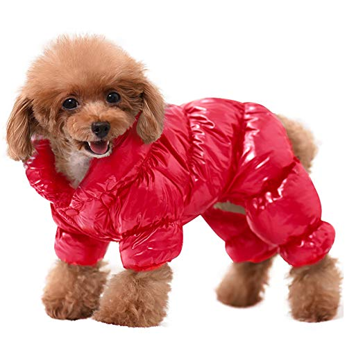 AOFITEE Winter Dog Coat Warm Waterproof Puppy Down Jacket, Lightweight Outdoor Padded Pet Vest, Windproof Snowsuit Cold Weather Apparel Clothes for Small Dogs, Red, 2XL