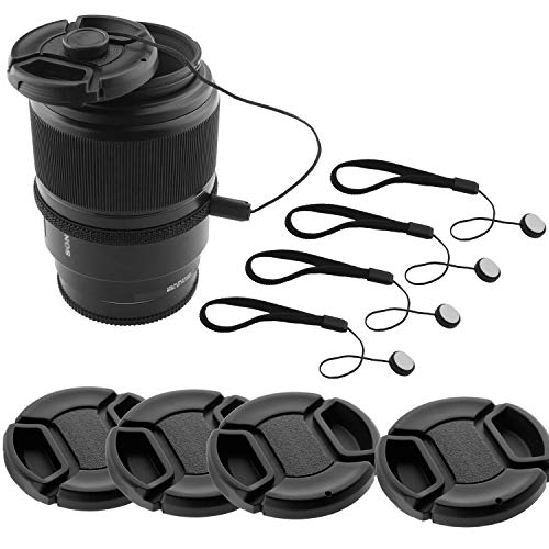 58mm Lens Cap Bundle - 4 Snap-on Lens Caps for DSLR Cameras - 4 Lens Cap Keepers - Microfiber Cleaning Cloth Included - Compatible Nikon, Canon, Sony Cameras (58mm)