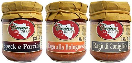 CUCINA TOSCANA - Tris Ragù: Speck e Porcini | Ragù alla Bolognese | Ragù di Coniglio 3x180g