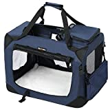 FEANDREA Dog Carrier Folding Fabric Pet Carrier Lightweight Pet Cage Dark Blue 70