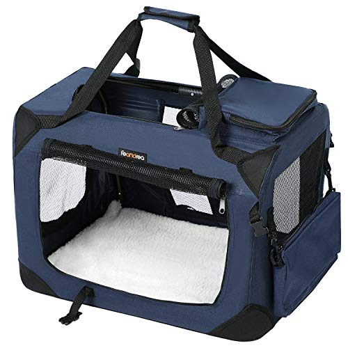 FEANDREA Hundebox, Transportbox für Auto, Hundetransportbox, Faltbare Katzenbox aus Oxford-Gewebe, S, 50 x 35 x 35 cm, dunkelblau PDC50Z