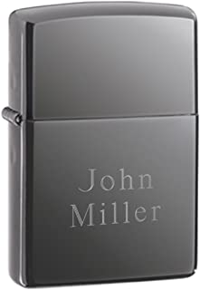 Personalized Genuine Zippo Black Ice Lighter - 2Lines