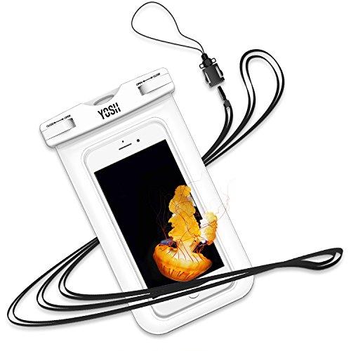 YOSH wasserdichte Handyhülle Beutel Schwimmen Tauchen Kanu Wassersport für iPhone X/8/7/6/6s Plus für Samsung S9/S8/S7/S6/S5/A5 für Huawei für HTC, mit Trageband, bis zu 6 Zoll (weiß)