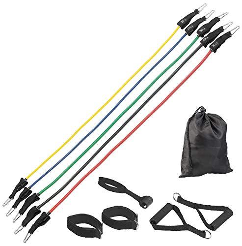 PEARL sports Widerstandsbänder Tür: 5er-Set Widerstandsbänder mit Griffen, Fußschlaufen und Türanker (Fitnessbänder Tür)