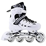 CLEBAO 4 Size Adjustable Inline Skates for Kids and Adults Flash Men and Women Inline Roller Skates Beginners Boys and Girls Roller Blades Pu Mesh White_L
