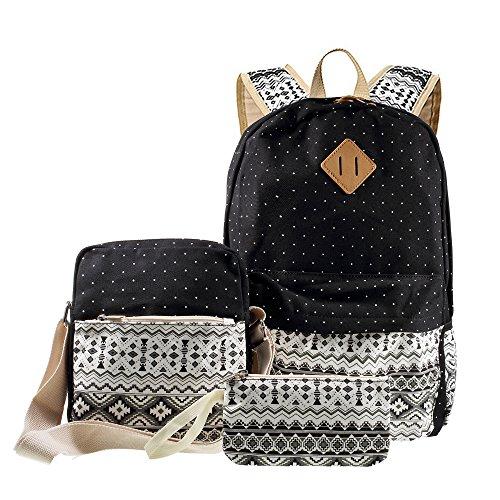 Lemonda® Canvas Rucksack, 3 in 1 Gelegenheits Tribal & Dots Rucksack, Schule Bag + Messenger Bag + Handtasche (Schwarz)