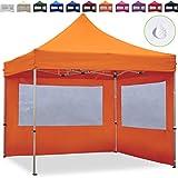 TOOLPORT Faltpavillon Faltzelt 3x3m - 2 Seitenteile ALU Pavillon (TÜV Rheinland geprüft) Partyzelt orange Dach 100% WASSERDICHT (GS geprüft)