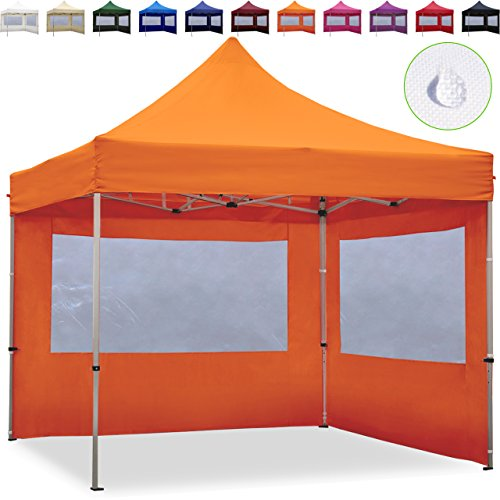 TOOLPORT Faltpavillon Faltzelt 3x3m - 2 Seitenteile ALU Pavillon Partyzelt orange Dach 100{2099056c3033756be6855769633298a2eb063c5ef0298426a457fa3b7fa97b05} WASSERDICHT