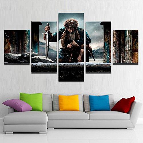 MYJXKL - 5 impresiones sobre lienzo HD, impresión de fotos modular, decoración de casa, salón, 5 piezas, diseño de Señor de los anillos, pintura para pared, arte de película