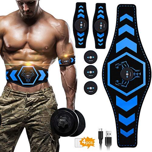 UIHOL EMS Bauchmuskeltrainer, EMS Trainingsgerät Elektrische EMS Muskelstimulator USB-wiederaufladbarer tragbarer Fettverbrennung für Herren Damen (Blau)