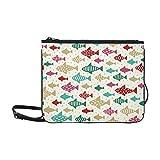 WYYWCY Pescado lindo en el estilo del patrón Doodle Bolso de embrague delgado de nylon de alto grado personalizado Bolso cruzado Bolso bandolera