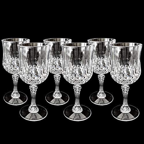 6er Set Kunststoff Weingläser Kristall-Effekt 200 ml Ø7x16,5cm Party Picknick Hochzeit Geburtstag Rot Weiß Weinglas Rotweinglas Weißweinglas Goblet