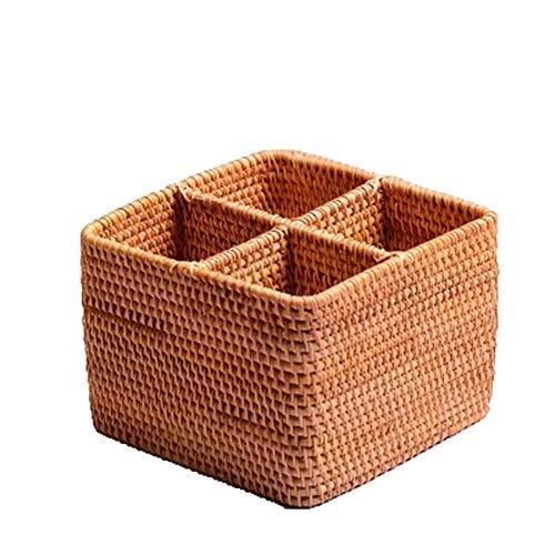 Bangxiu-home Cestas de Mimbre Multi-Squared Exquisite Household Escritorio Oficina Misceláneas Caja de Colección Rattan para baño, Sala de Estar, Cocina o salón