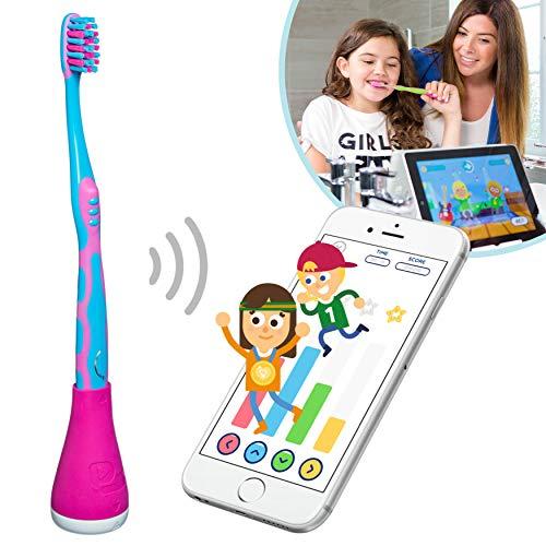 Playbrush Smart -Intelligenter Aufsatz für Kinderzahnbürsten inkl. App zum spielerischen Erlernen der richtigen Zahnpflege, Rosa, 1 Stück, inkl. Marken-Zahnbürste und Smartphone-Halterung