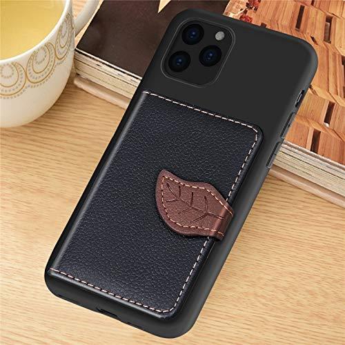 Dmtrab para Para iPhone 11 Pro MAX Litchi Patrón de patrón Bolso Billetera Bolleto + TPU Funda telefónica con Tarjeta Slot Wallet Función (Color : Black)
