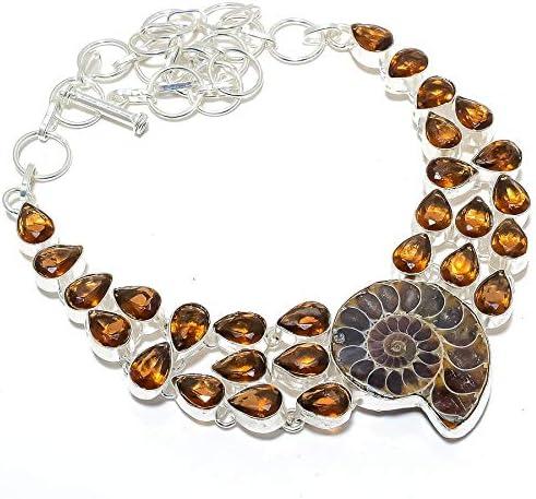 emartwala Ammonite 海外輸入 Fossil Smokey Silver 925 Gemstone 新品 送料無料 Sterling
