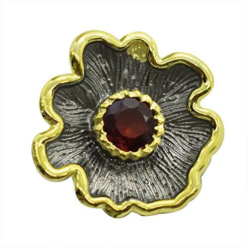 Colgante chapado en oro chapado en oro con diseño de flor de granate, plata de ley 925 de rodio, color negro