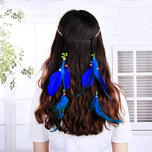 Deniferymakeup Boheemse Pauw Veer Hoofdband Hippie Hoofdstuk Handgemaakte Tribal Indian Fascinator Veer Haarband Headdress Haaraccessoires voor Meisjes Lady Goud