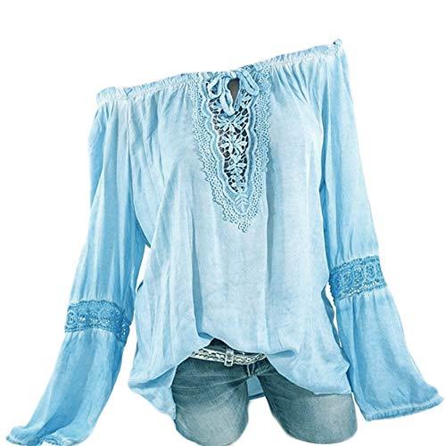 Best Buy! kaifongfu Women Casual Long Sleeves Pure Color Lace Splicing Shirt Tops Plus Size Blouse(B...