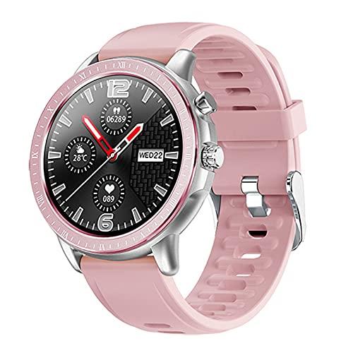 QFSLR Smartwatch Fitness Tracker con Monitor De Frecuencia Cardíaca Monitor De Presión Arterial Monitoreo De Oxígeno En Sangre Reloj Deportivo Android iOS,Rosado,largre