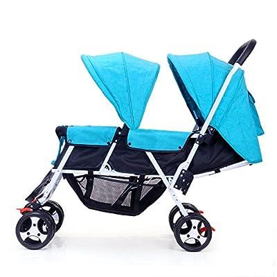 LZTET Cochecito De Bebé Gemelo Portátil Puede Ser Utilizado para Acostarse Bebé Paraguas Plegable Coche Carro De Neonatal A Prueba De Choques Alto Landscape