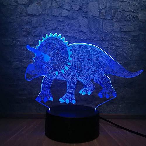 Luz De Ilusión 3D Luz De Noche 3D Luz De Noche De Dinosaurio Fresco 3D 7 Colores Cambio De Ilusión Mesa De Dormitorio Lámpara Led Al Lado De Regalo De Cumpleaños Decorativo Para Niño Con Control R