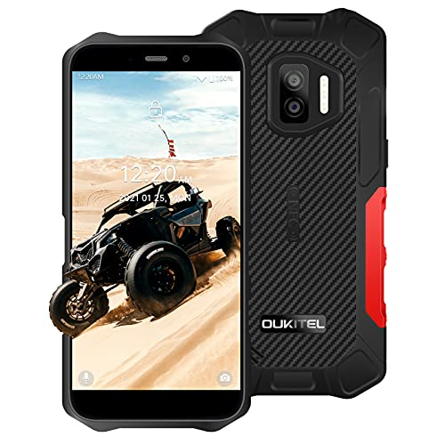 OUKITEL WP12 Pro 2021, Android 11 Sim-Free Handy 4 GB + 64 GB (SD 256 GB), 5,5 Zoll HD+ Bildschirm, 4 G, entsperrtes Smartphone, 13 MP Kamera, 4000 mAh Akku, robustes Handy, 3 LED-Blitze, NFC/GPS, rot