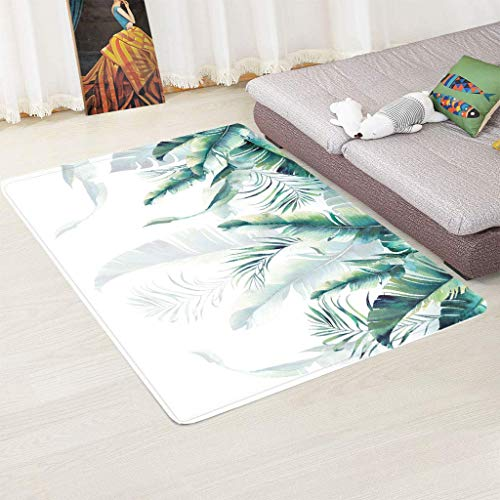 zpbzambm Modern Rugs,Area Rug,Soft Touch Short Pile Carpet For Living Room And Bedroom, 3D Printing Green Leaf,Easy To Clean Without Falling Off,Size :180X260Cm