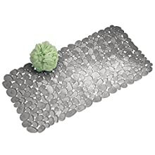 mDesign Alfombra para ducha con ventosas - Alfombra para baño de diseño - Alfombra antideslizante para colocar al lado de la bañera, ducha o en la cocina - Medidas: 43,18 cm x 29,5 cm
