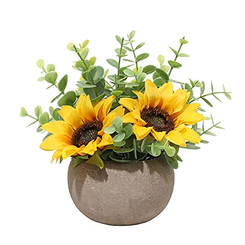 Artificial Sunflower Potted Plant Laelfe Fake Sunflowers Pot Decor for Home...
