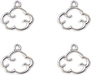 Yansanido Pack of 50 Alloy Cloud Shape 13x14 mm Charms Pendants for Making Bracelet and Necklace or Zipper Pendant Cellphone Pendant (Cloud 50pcs Silver)