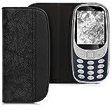 kwmobile Nokia 3310 3G 2017 / 4G 2018 Hülle - Kunstleder Handy Schutzhülle - Flip Cover Case für Nokia 3310 3G 2017 / 4G 2018 - Polygonstreifen Design Schwarz
