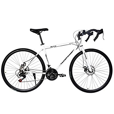 LYBOHO Lightweight Aluminum Road Bike - 700c Wheels Mountain Road Bike Begasso Simanos Aluminum Frame Full Suspension, 21 Speed Disc Brakes Mens/Womens Fashionable Road Bicycles (White,US Stock)