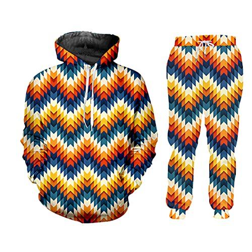 Traje de chándal de Invierno Hombre 2 Piezas Sportswear Traje 3D Impresión Digital con Capucha HSPA70555 4XL