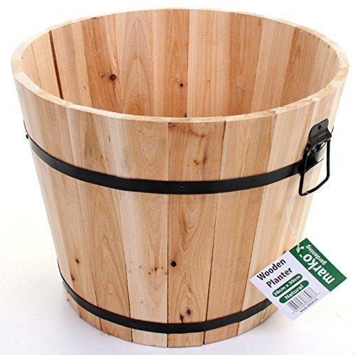 Marko Gardening Round Barrel Planter Plantpot Burntwood Natural Wooden Flower Pots Plants Garden (Natural)