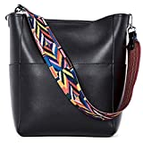 BROMEN Women Handbag Designer Vegan Leather Hobo Handbags Shoulder Bucket Cross-body Purse Black