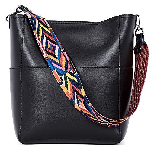 BROMEN Women Handbag Designer Vegan Leather Hobo Handbags Shoulder Bucket Cross-body Purse Black
