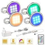MYPLUS 4er Set LED Unterbauleuchte, RGB Deckenleuchten Schrankleuchten Mit 4 Blinkende Modi 16 Farbwechsel Lichter, 12V Adapter LED Küchenlampen Stimmungslichter