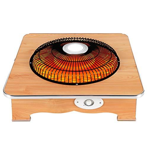 LTLJX Radiador Halógeno, Calefactor Eléctrico Estufa de Cuarzo Termoventiladores para Espacio Pequeño Dormitorio Oficina Hogar Ajustables Calefacción Termostato,Solidwoodcolor