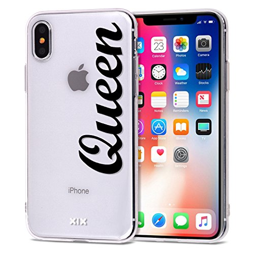 iPhone XR Case Queen Slim Fit Black Shockproof Bumper Cell Phone Accessories Queen & King Design Thin Soft TPU Protective Cover for Women Apple iPhone XR Cases Luxury for Girls (06)