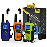 3 Long Range Walkie Talkies Rechargeable for Adults - NOAA FRS 2...