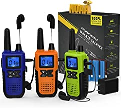 3 Long Range Walkie Talkies Rechargeable for Adults - NOAA 2 Way Radios Walkie Talkies 3 Pack - Long Distance Walkie-Talkies with Earpiece and Mic Set Headsets USB Charger Battery Weather Alert