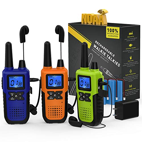 3 Long Range Walkie Talkies Rechargeable for Adults - NOAA FRS GMRS 2 Way Radios Walkie Talkies - Long-Distance 2way Walkie Talkies with Earpiece Mic Weather Alert USB Cable Charger(K10 Colors)