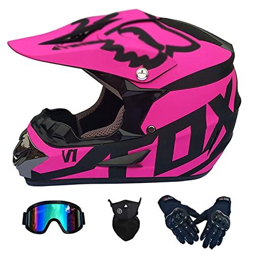 NINOMI Cascos De Motocross, Rosa Mate Downhill DH Motocicleta Todoterreno Am Casco Integral De Bicicleta De Montaña con Gafas + Guantes + Mascarilla Casco De Montar para Adultos