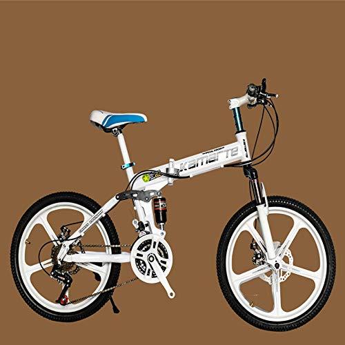TTBOO 21 Speed Children s Bicycle 20inch Folding Mountain Bike Two-disc Brake Lady Bike 5 Knife Wheel and Spoke Wheel Folding Bicycle-Five Knife White