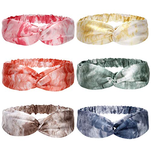 Folora 6pcs Mehrfarbige Twisted Criss Cross Elastic Stirnbänder Weiche Seide Haarbänder für Frauen Mädchen