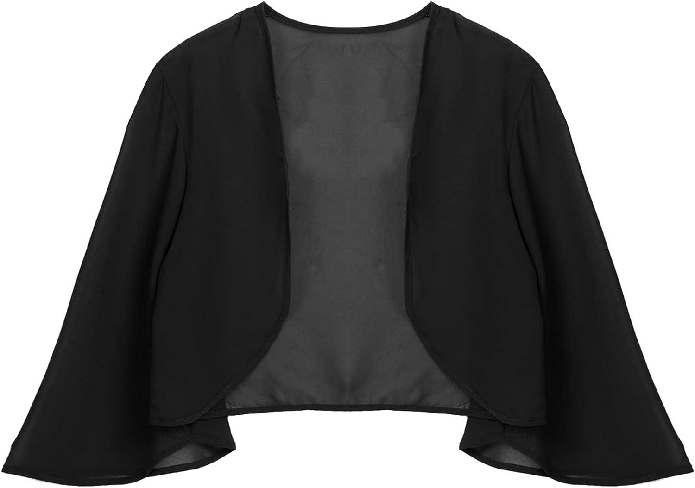 TSSOE Women Chiffon Open Front Cropped Cardigan 3/4 Sleeve Sheer Shrug Bolero Top