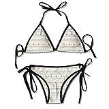 Bikini Trajes de baño Líneas onduladas Pequeños Lunares y Rayas Border Marine Travel Voyage Conjuntos de Bikini Traje de baño de Playa Traje de baño