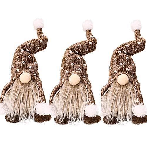 decorazioni natalizie famiglia Coospy Gnomo di Natale Decorazioni Natalizie,3 Pezzi 30cm Regali Nani Scandinavi di Giocattoli Fatti a Mano